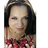 Woman, Holding, Cherries
