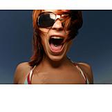 Young woman, Shouting, Screaming