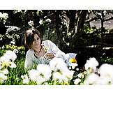 Young woman, Meadow, Flower meadow, Spring