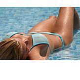 Young Woman, Pool, Bikini