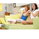 Young Woman, Enjoyment & Relaxation, 2 Persons, Watching Tv