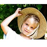 Kind, 3-8 Jahre, Mädchen, Hut, Sommer, Strohhut