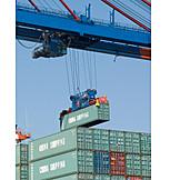 Logistik, Handel, Container, Fracht, Import, Export, Laufkatze