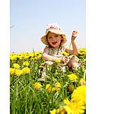 Girl, Summer, Flower meadow, Childhood