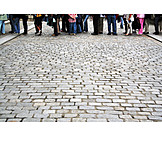 Waiting, Queue, Cobblestone, Queuing
