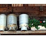 Rural scene, Milk canister, Window box