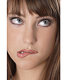 Young woman, Woman, Mimic, Grimace