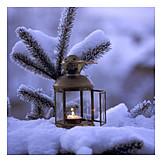 Snowy, Lantern, Candle, Fir branch