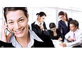 Geschäftsfrau, Besprechung & Unterhaltung, Telefonieren, Headset