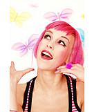 Young Woman, Woman, Enthusiastic, Crazy, Euphoric