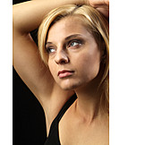 Young woman, Woman, Pensive