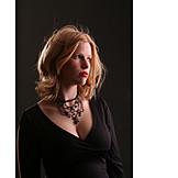 Young woman, Woman, Serious, Pensive