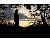Solitude & loneliness, Boy, Sunset, Silhouette