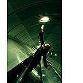Young woman, Escalator, Underground