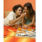 Paar, Essen & Trinken, Essen, Verliebt, Frühstück, Füttern