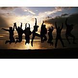 Begeistert, Personengruppe, Freudensprung