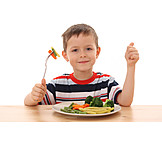 Boy, Enthusiastic, Eating