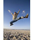 Boy, Sea, Jump, Vitality, Ecstatic