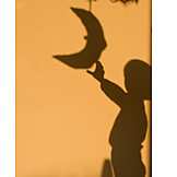 Girl, Silhouette, Moon
