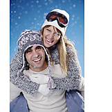 Love couple, Skiers, Snowboarder