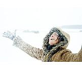Woman, Enthusiastic, Winter, Snow