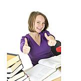Enthusiastic, Learning, Schoolgirl, Thumbs Up
