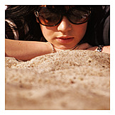 Young woman, Woman, Sunglasses, Summer, Beach holiday