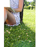 Young woman, Mobile communication, Laptop, Summer
