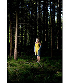 Woman, Forest, Anxious