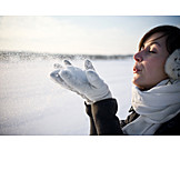 Young woman, Snow, Winterly, Blowing