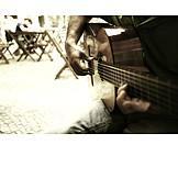 Playing music, Guitarist, Street musician