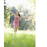 Young woman, Happy, Walk