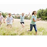 Children group, Fun & happiness, Run, Freedom