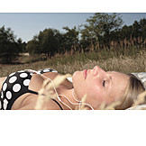 Young woman, Music, Listen, Sunbathing