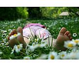 Girl, Flower meadow, Childhood