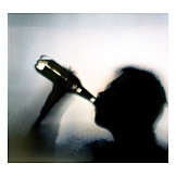 Drinking, Silhouette, Blurry
