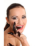 Junge Frau, Genuss & Konsum, Schokolade, Sinnlich