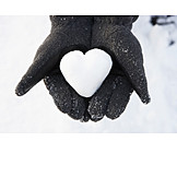 Snow, Heart, Love message