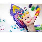 Fun & Happiness, Child's Hand, Preschool, Finger Painting