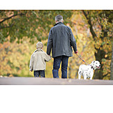 Father, Son, Dog owners, Walk
