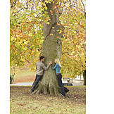 Couple, Embracing, Love, Tree, Autumn, Tree trunk, Romantic, Love couple, Nature
