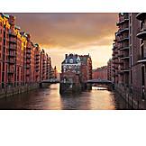 Hamburg, Speicherstadt, Moated castle