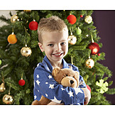 Boy, Christmas, Teddy bear