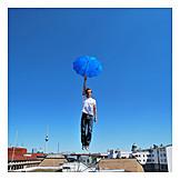 Man, Parachute, Umbrella, Landing