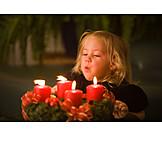 Girl, Christmas wreath, Blowing