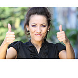 Young Woman, Enthusiastic, Thumbs Up
