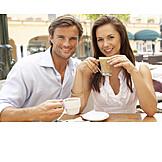 Coffee time, Sidewalk cafe, Love couple, Portrait