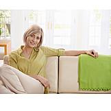 Young woman, Domestic life, Sofa