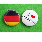 Begeistert, Button, Fußballfan, Deutschlandfan