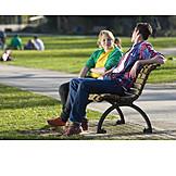 Teenager, Young man, Urban life, Bench